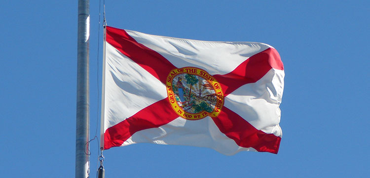 The state flag of Florida on a windy, blue-skied day.