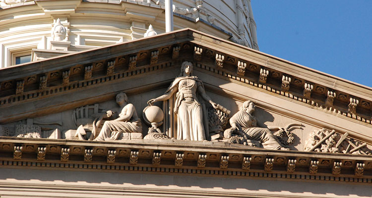 The detail at the top of the State Capitol Building in Lansing, Michigan.