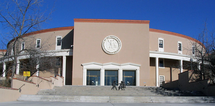 The New Mexico State Capitol Building in Santa Fe, New Mexico.