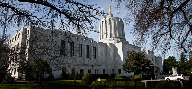 Oregon's state capitol building, pictured on a sunny winter day.