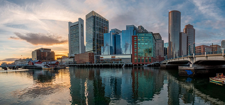 Picture of Boston, Massachusetts across a water channel.