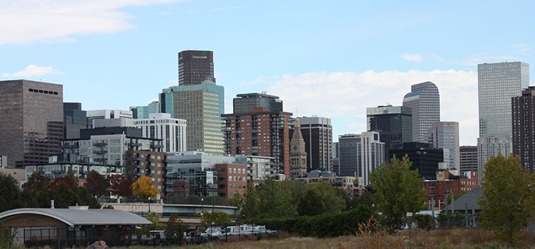 Downtown Denver on a sunny day.
