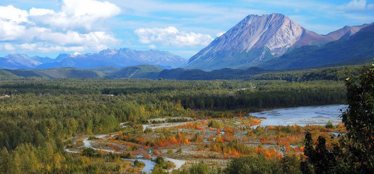 Picture looking across a valley at Pinnacle Mountain near Palmer, Alaska.