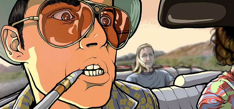 Cartoon depiction of a famous scene from Hunter S. Thompson's Fear and Loathing novel.