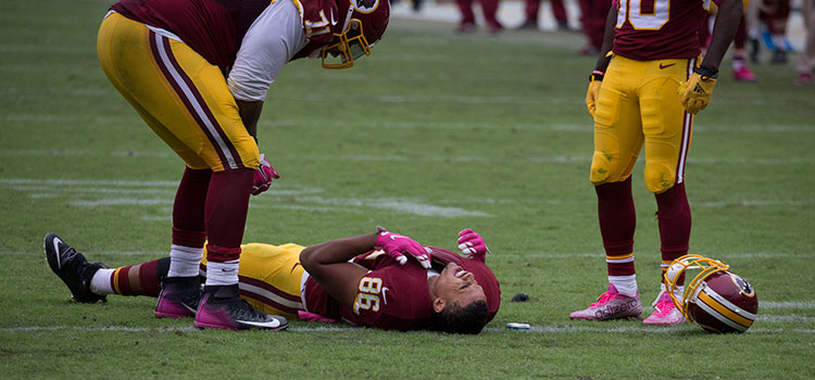 Jordan Reed of the Washington Redskins after a rough tackle in 2013.