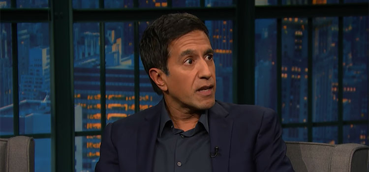 Dr. Sanjay Gupta appearing on Late Night with Seth Meyers.
