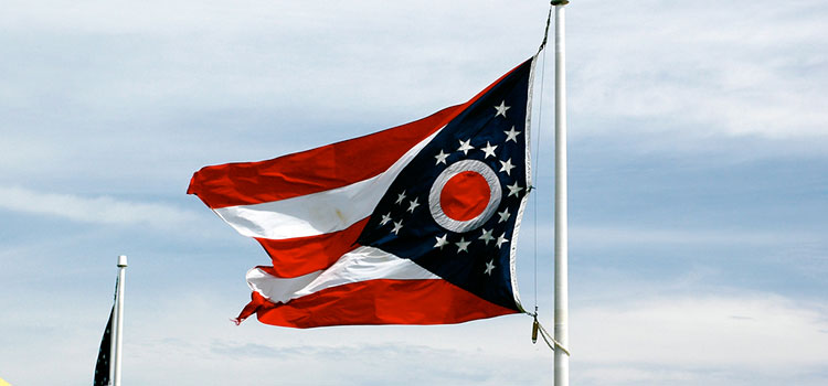 The Ohio state flag flying in the wind.