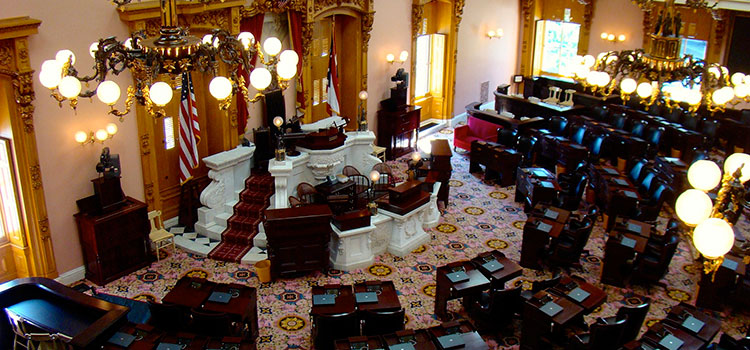 Inside the Ohio State House's Senate chambers.