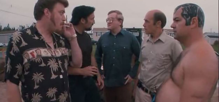 Main characters in a scene from a Trailer Park Boys episode.