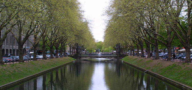 Waterway in western German city of Düsseldorf.
