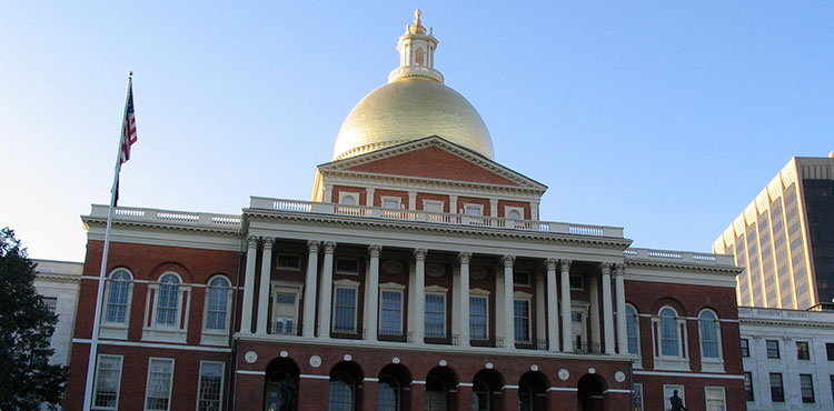 The Massachusetts capitol building in Boston.