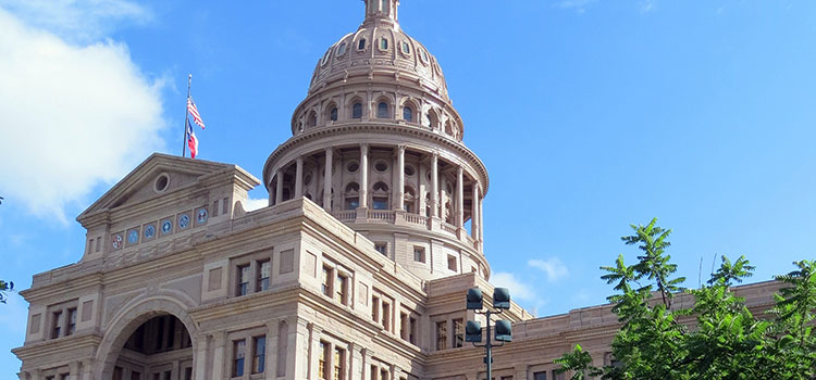 A sunny day at the Texas Capitol Building in Austin, Texas.