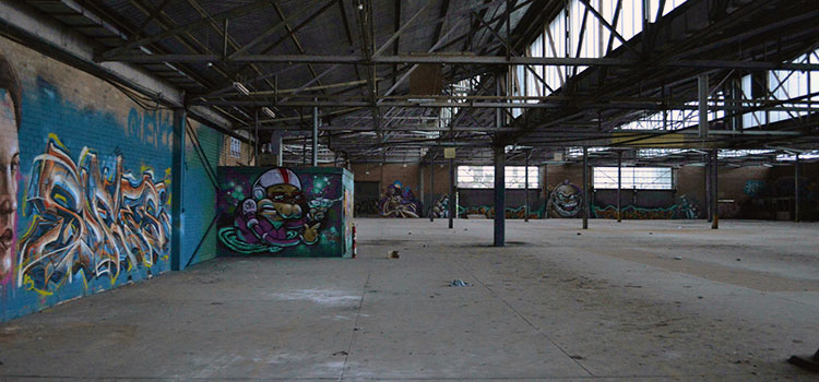 A warehouse that has been left empty for some time.