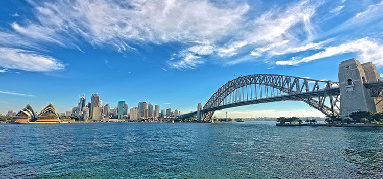 Wide-angle view of Sydney, Australia from the water.