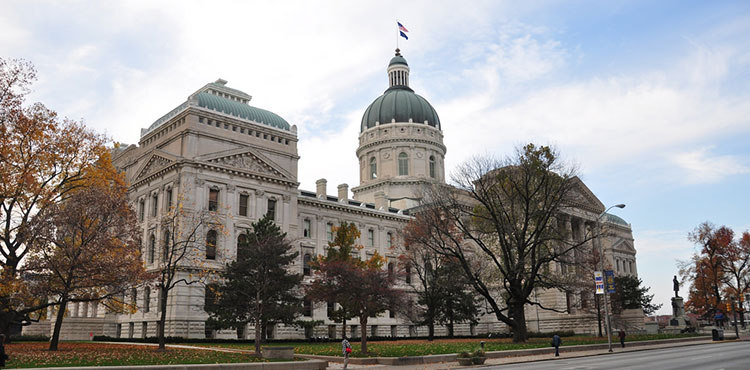 The capitol building of Indiana, where lawmakers recently legalized CBD access for epilepsy.