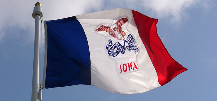 The state flag of Iowa flying on a sunny, blue-skied day.