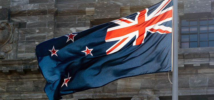 The flag of New Zealand, where health officials have eased medical cannabis restrictions.
