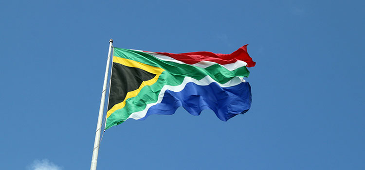 The flag of South Africa.