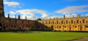 A sunny patio at Oxford University in Oxford, England.