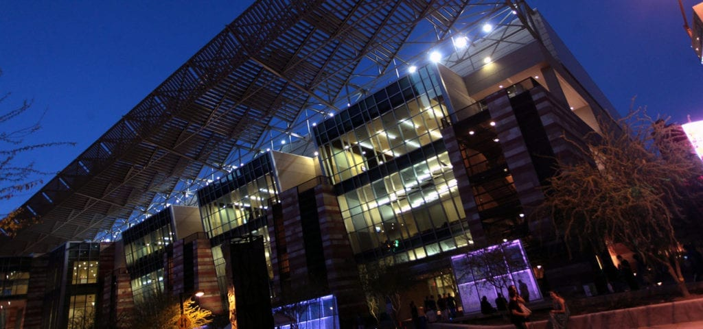 The Phoenix Convention Center at night.