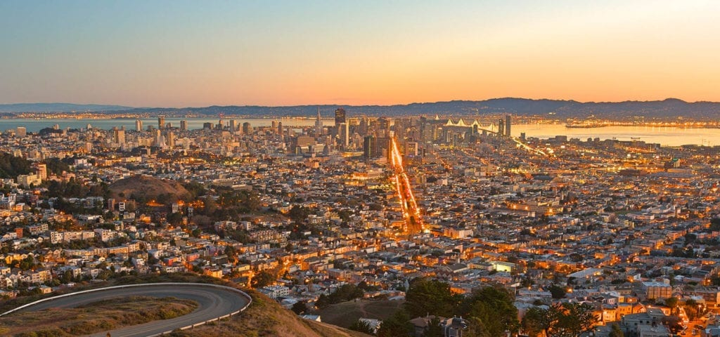 A sunrise view of San Francisco.