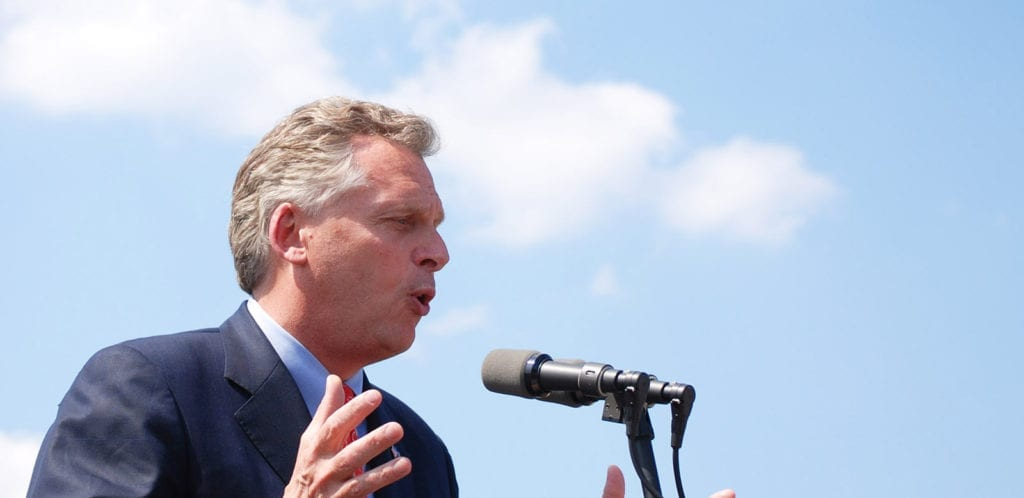 Virginia Gov. Terry McAuliffe speaking at a campaign rally.