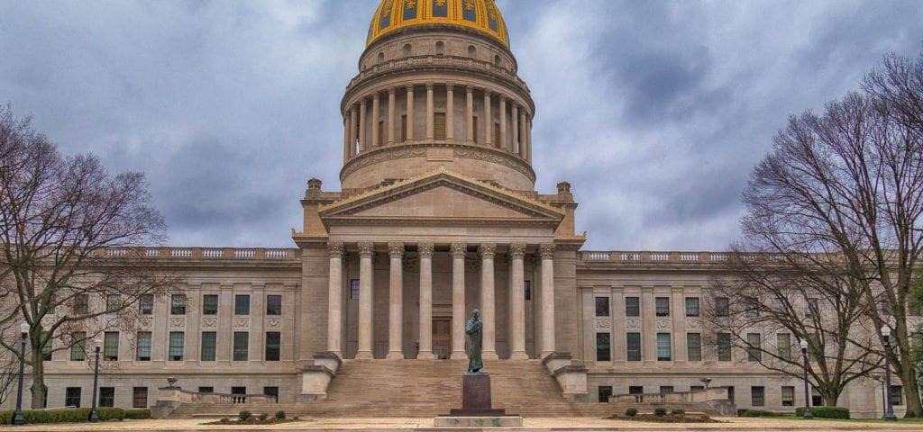 The West Virginia State Capitol in on U.S. Route 60 in Charleston, West Virginia..