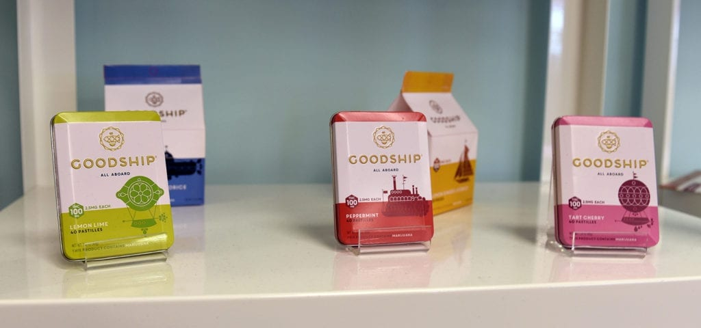 Top products on display from the Washington-based edibles producer The Goodship Company.