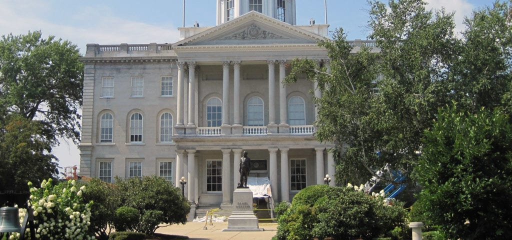 Front lawn of the capitol building of New Hampshire.