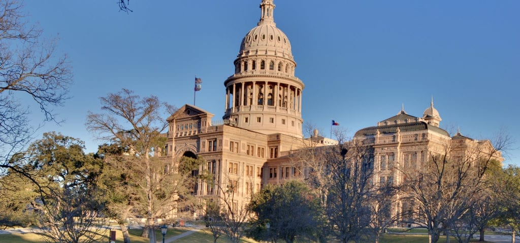 A sunny day at the Texas State Capitol Building in Austin, Texas.