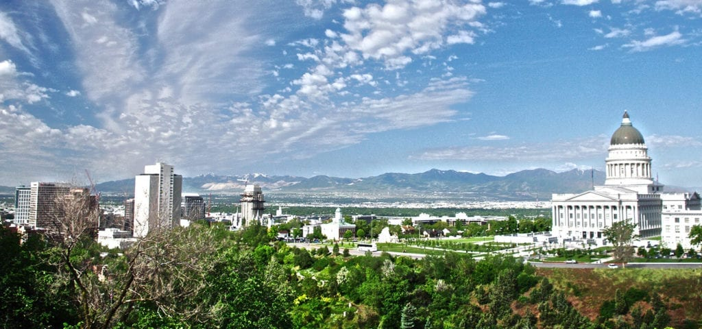 Skyline view of Salt Lake City, the capital city of Utah, with the State Capitol building on the right.