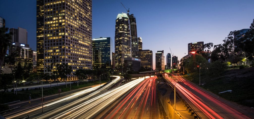 A nighttime time lapse of Highway 110 in downtown Los Angeles, California.