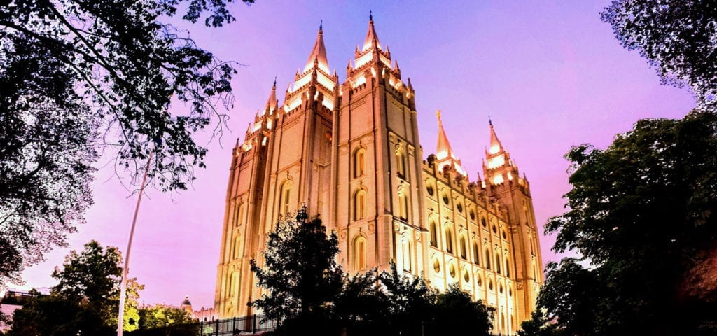 The view of the Mormon church in Temple Square, Salt Lake City.