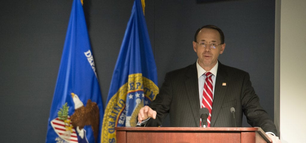 Deputy Attorney General Rod Rosenstein speaking at a memorial service hosted by the U.S. Marshals in May, 2017.