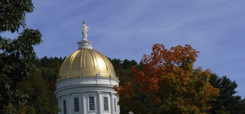 The golden dome on top of the Vermont Statehouse in Montpelier, Vermont.