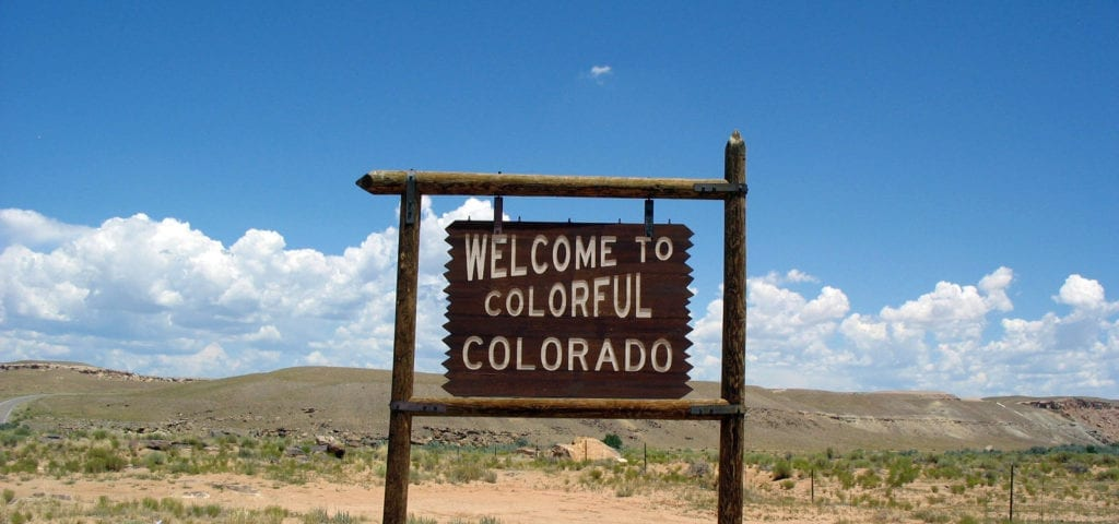 The Welcome to Colorado sign in Montezuma, Colorado.
