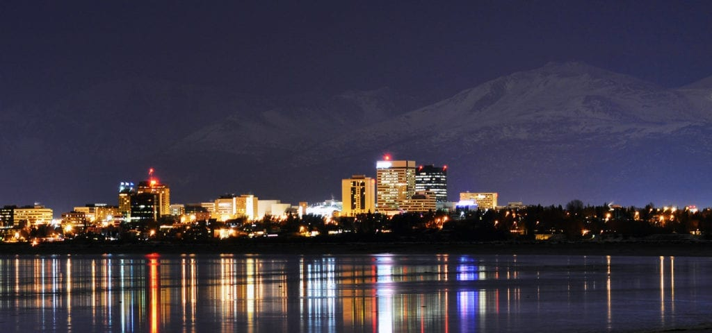 View of Anchorage, Alaska during the annual winter nighttime.