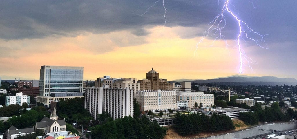 A rare thunderstorm over Harborview Medical Center in Seattle, Washington.