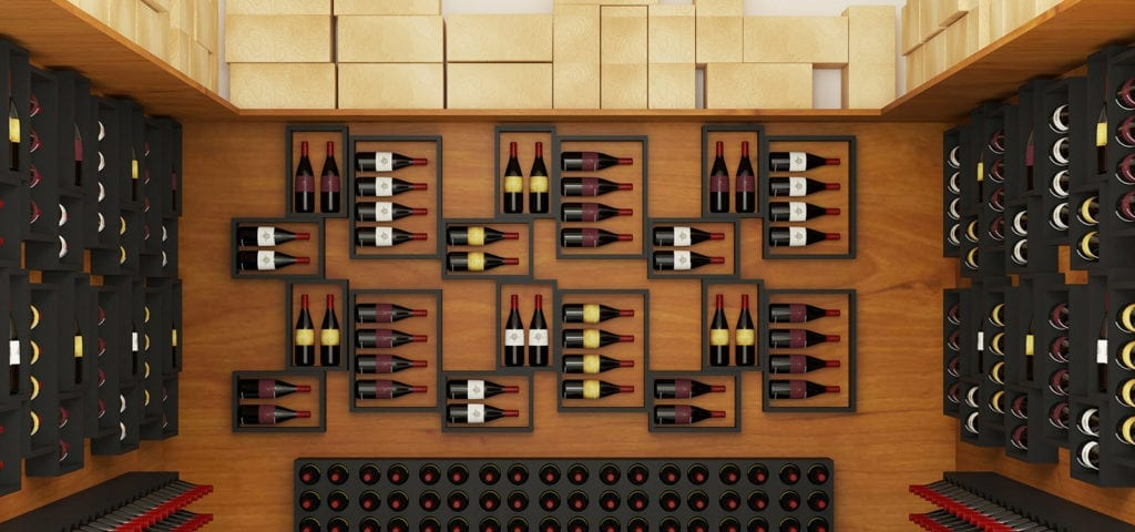 Digital image of a wine collection on display on the walls of a wooden room.