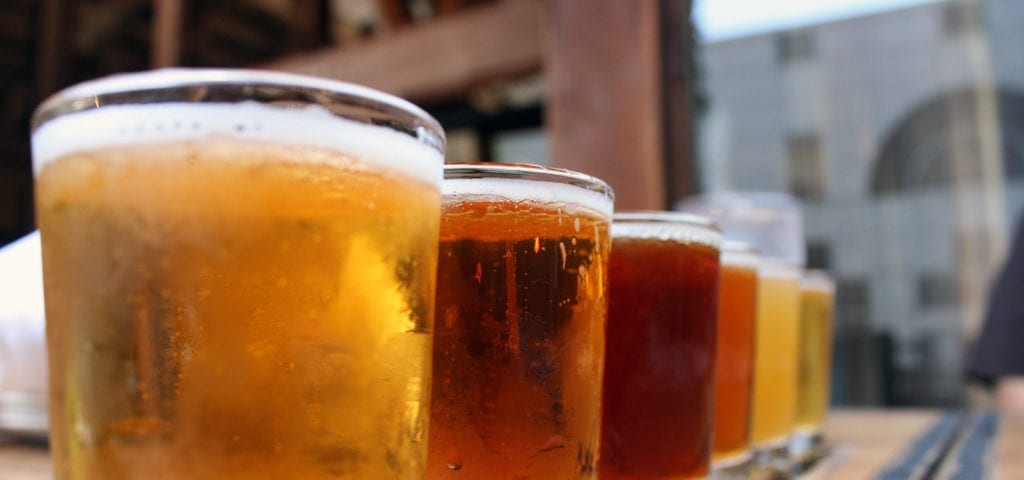 A beer tasting flight — a collection of a brewery's top offerings.