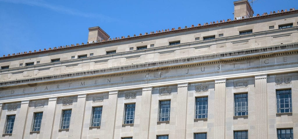 The Department of Justice building in the Penn Quarter of Washington D.C.