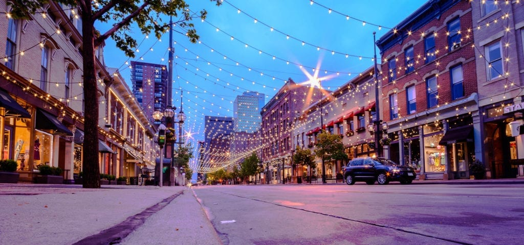 Larimer Square in downtown Denver at twilight.