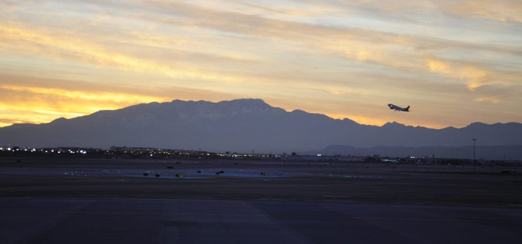 A commercial jet takes off from the Las Vegas International Airport in Las Vegas, Nevada.