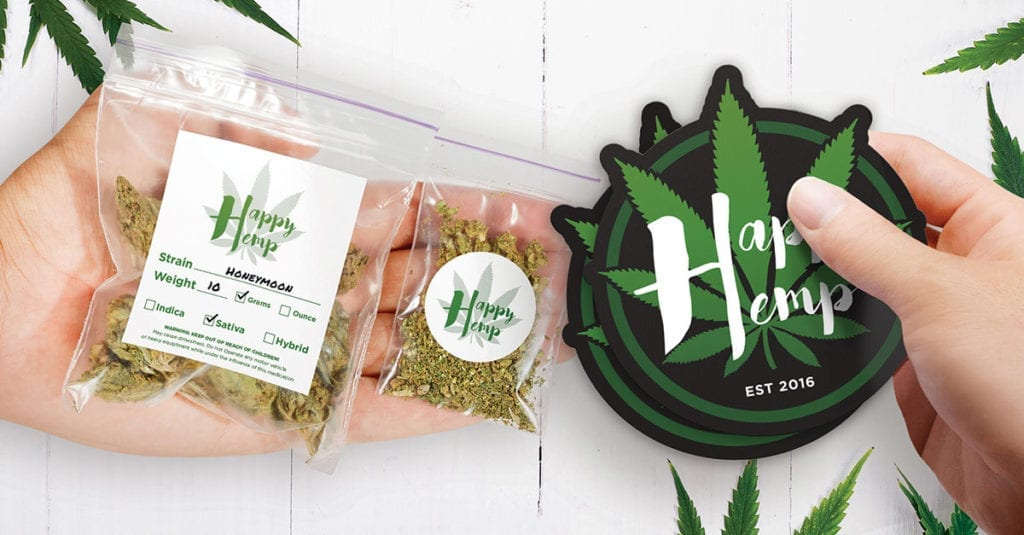 Cannabis branding material created by StickerYou.