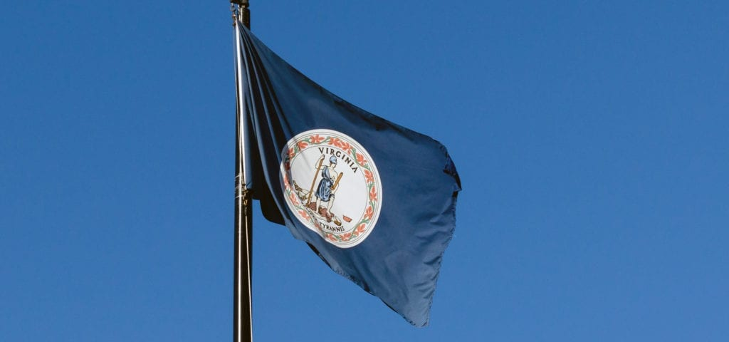 The Virginia state flag flying before a clear, blue sky.