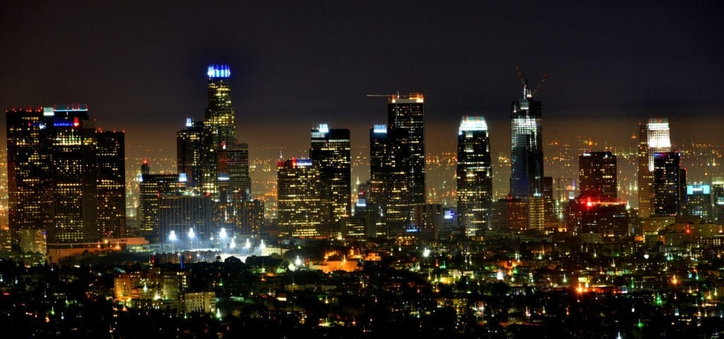 Downtown Los Angeles pictured at night.
