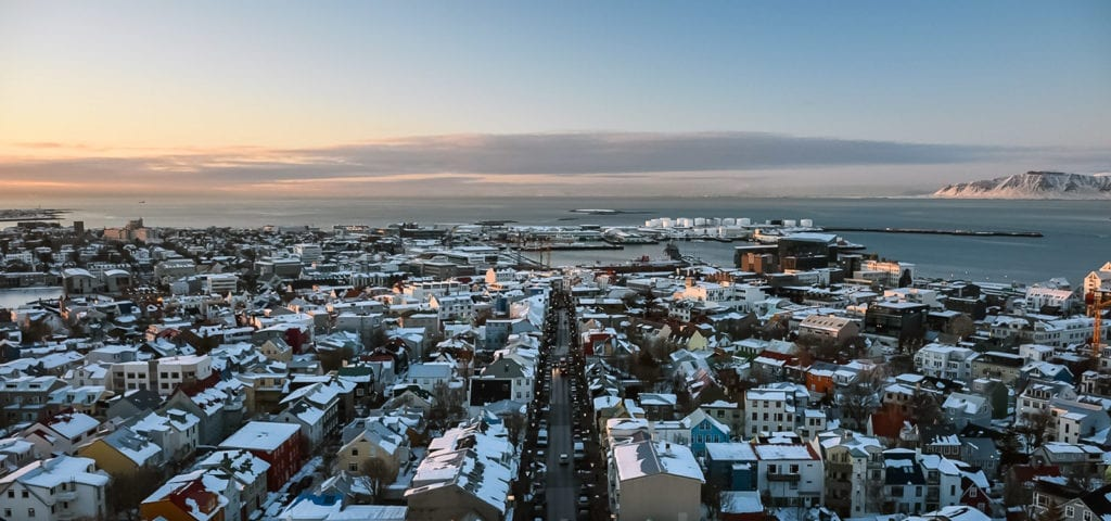 The Icelandic capital city of Reykjavik photographed during the sunrise golden hour.