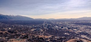 Panorama photo of the Salt Lake City skyline.