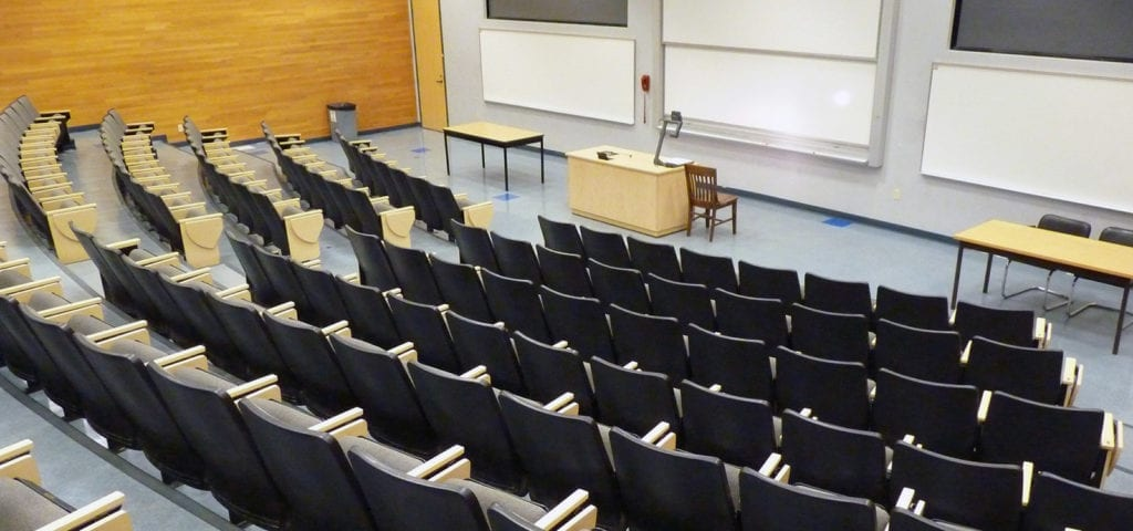 An empty university lecture room.
