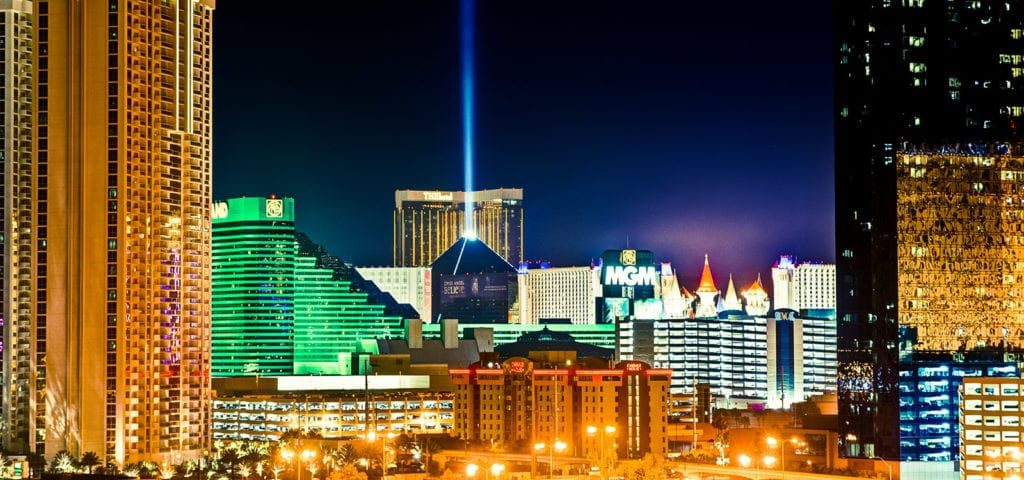 A bright beacon light coming out of the Luxor hotel in Las Vegas, Nevada.